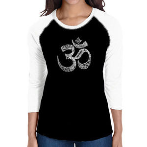 Women's Raglan Baseball Word Art T-shirt  POSES OM